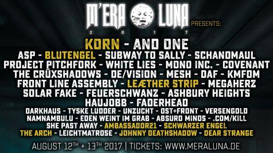 Das Line-Up für das M'era Luna Festival 2017 ist komplett